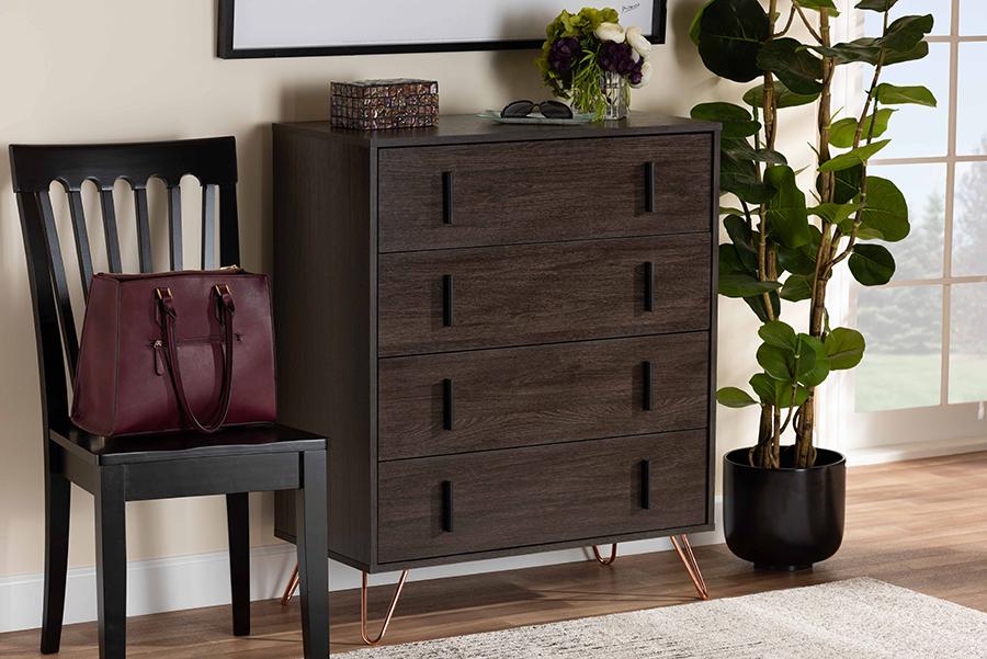 Baldor Dark Brown Wood Rose Gold Metal 4 Drawer Bedroom Chest | Baxton Studio
