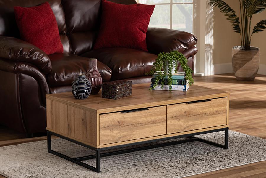 Franklin Oak Brown Wood Black Metal 2 Drawer Coffee Table | Baxton Studio