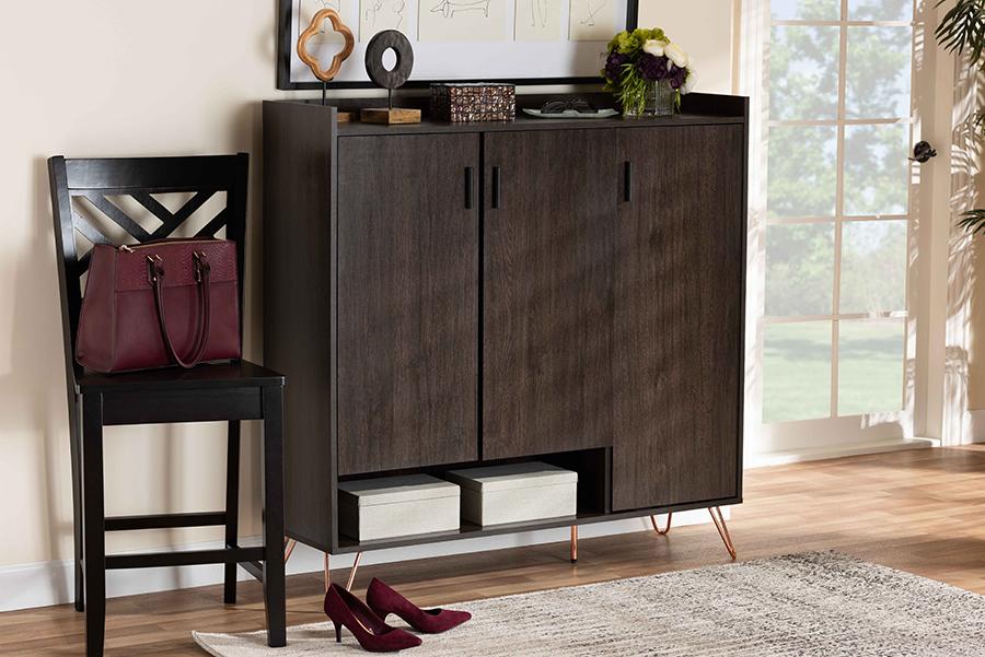 Baldor Dark Brown Wood 3 Door Shoe Cabinet | Baxton Studio