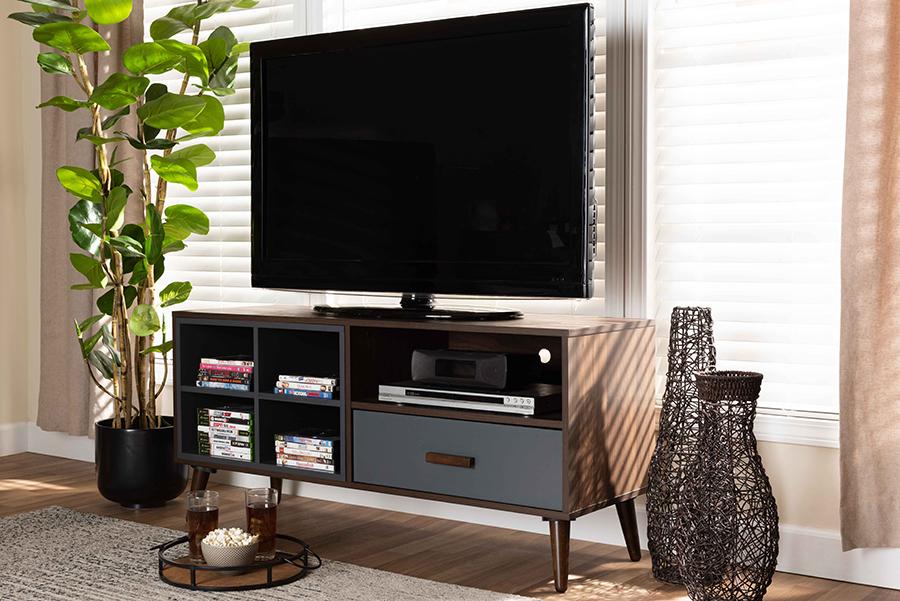 Garrick Grey Walnut Wood 1 Drawer TV Stand | Baxton Studio