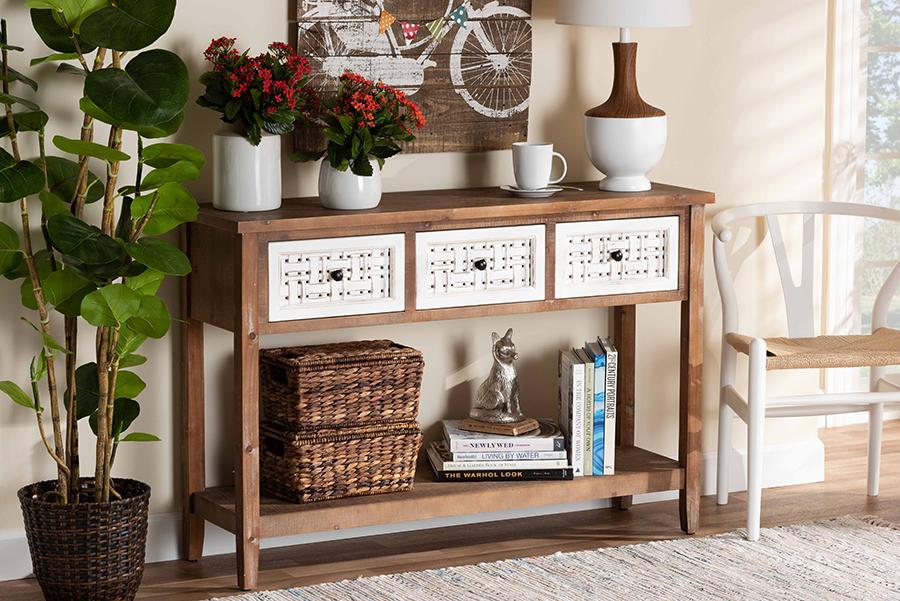Bonilla White Walnut Wood 3 Drawer Console Table   Baxton Studio