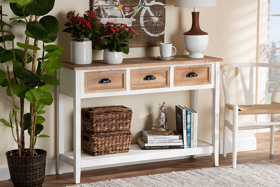 Benedict White Oak Brown Wood 3 Drawer Console Table   Baxton Studio