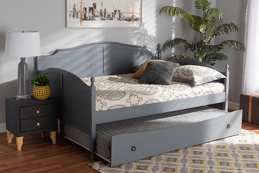Mara Grey Wood Full Daybed with Trundle | Baxton Studio