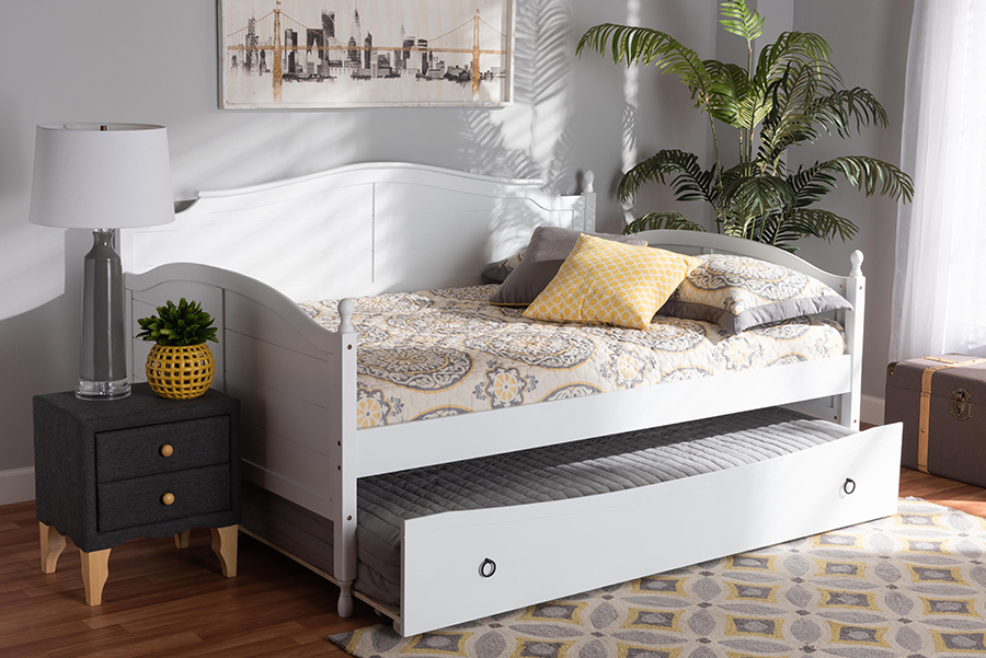 Mara White Wood Full Daybed with Trundle | Baxton Studio