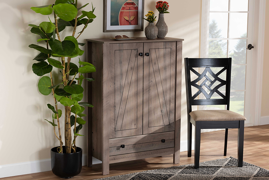 Derek Natural Oak Wood 1 Drawer Shoe Cabinet | Baxton Studio