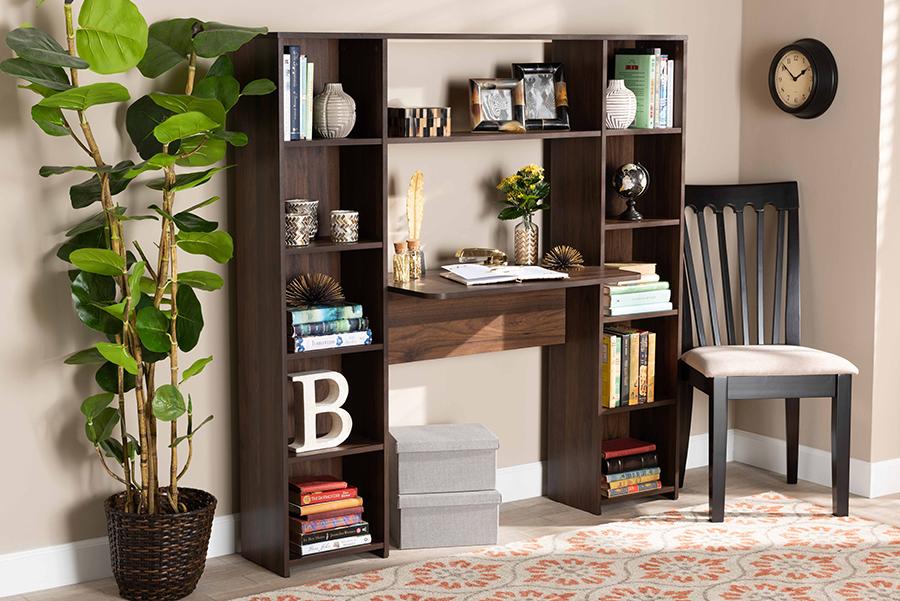 Ezra Walnut Wood Storage Computer Desk with Shelves   Baxton Studio