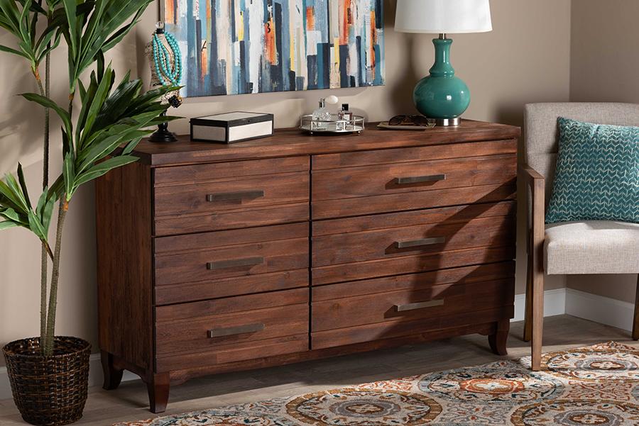 Ella Warm Oak Brown Wood 6 Drawer dresser   Baxton Studio