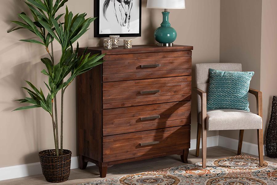 Ella Warm Oak Brown Wood 4 Drawer Chest | Baxton Studio