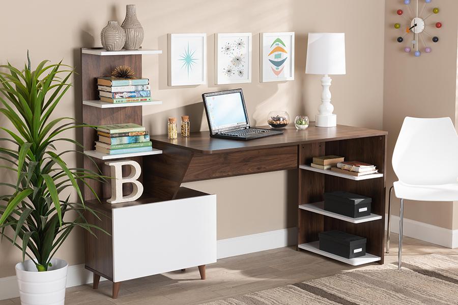 Tobias White Walnut Wood Storage Computer Desk with Shelves   Baxton Studio