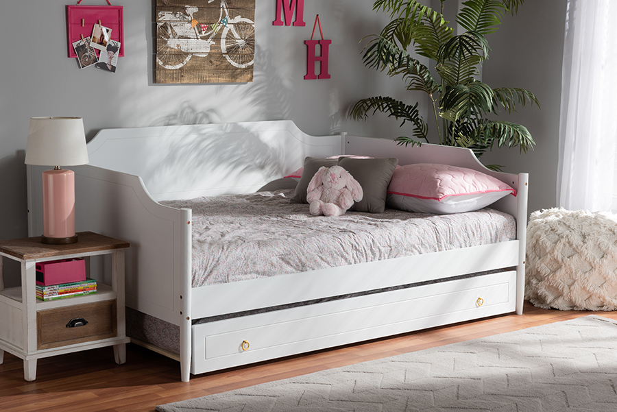 Alya White Wood Full Daybed with Trundle   Baxton Studio