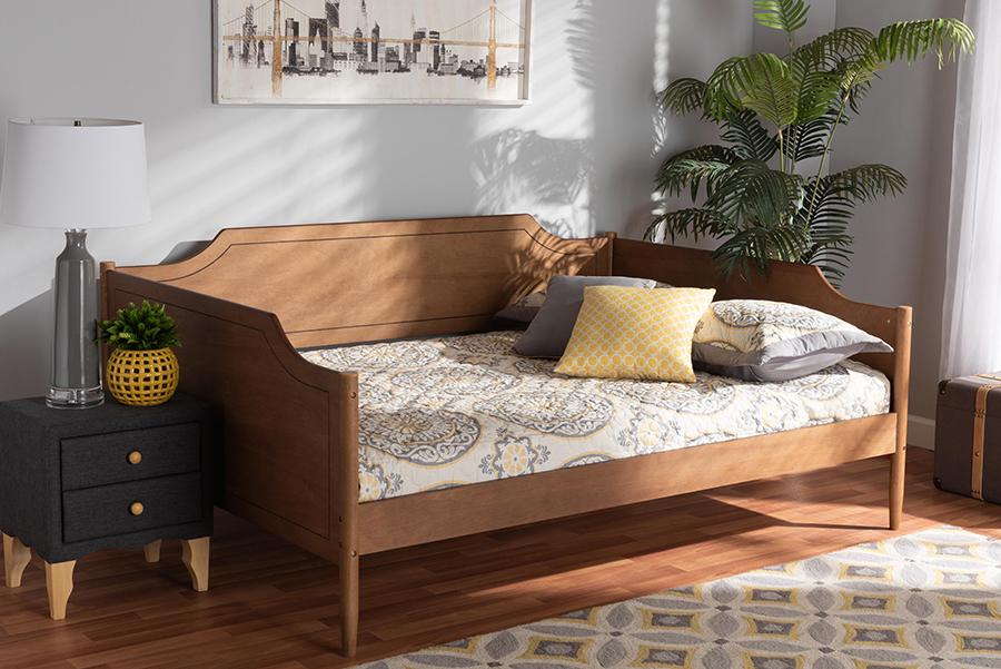 Alya Walnut Wood Full Daybed | Baxton Studio