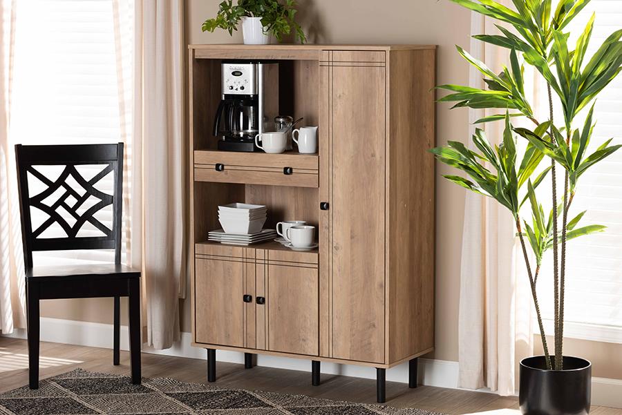 Patterson Oak Brown 1 Drawer Kitchen Storage Cabinet | Baxton Studio