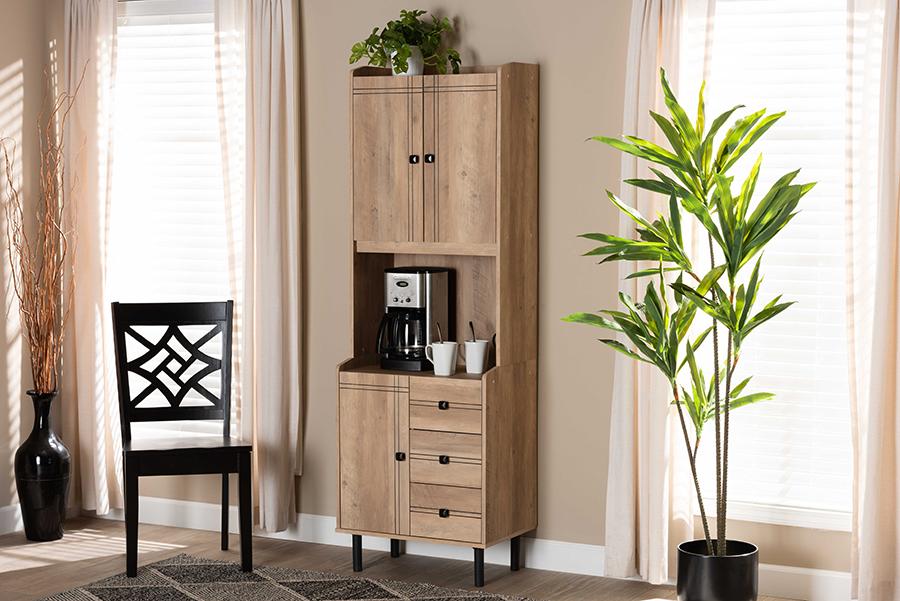 Patterson Oak Brown 3 Drawer Kitchen Storage Cabinet | Baxton Studio