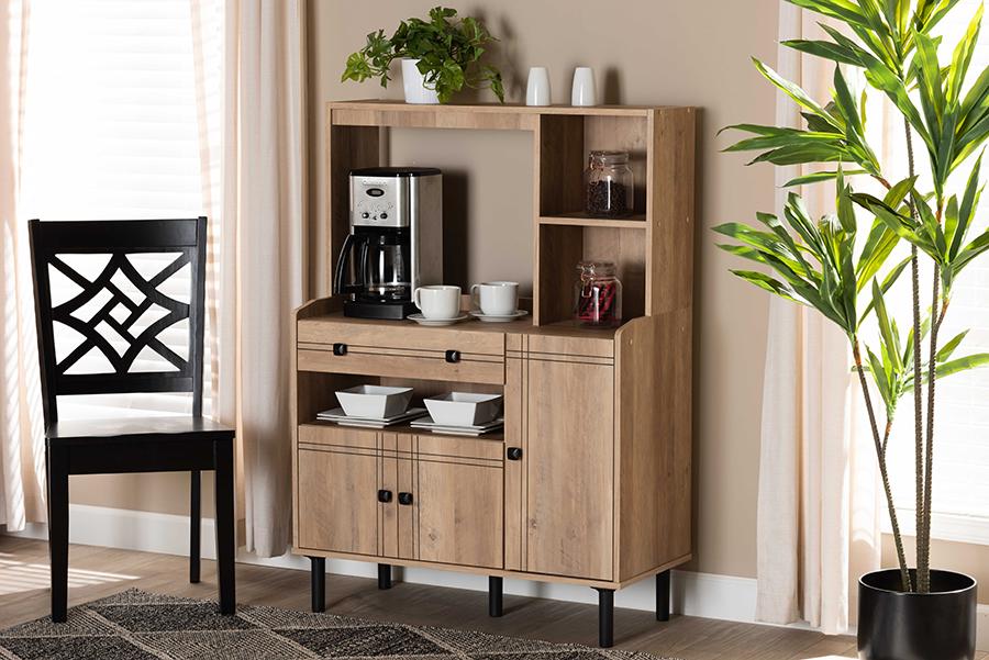 Patterson Oak Brown Wood 3 Door Kitchen Storage Cabinet | Baxton Studio