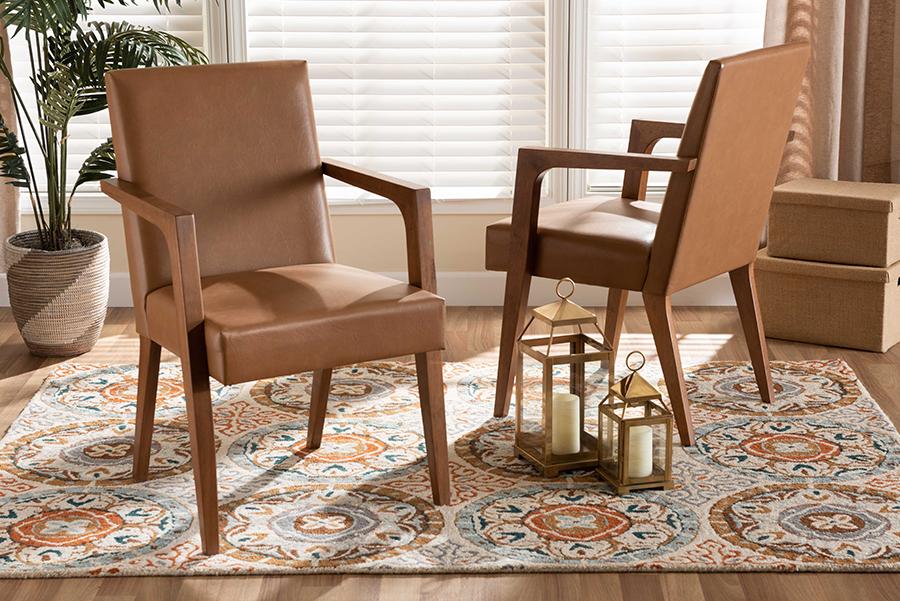 Andrea Tan Faux Leather Walnut Wood 2-pc Armchair Set | Baxton Studio