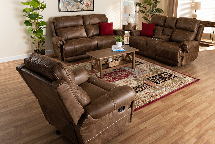 Buckley Light Brown Faux Leather 3-pc Reclining Living Room Set   Baxton Studio