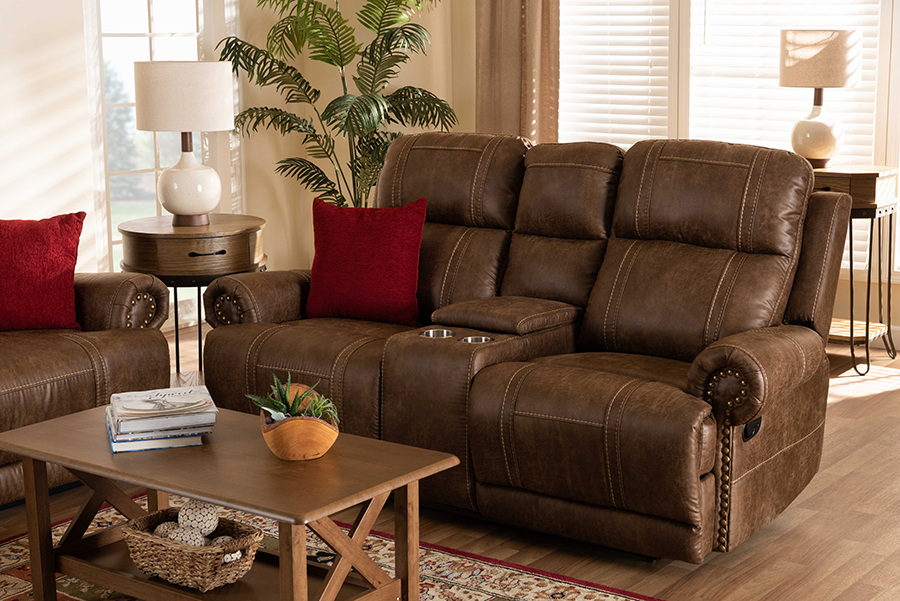 Buckley Light Brown Faux Leather 2 Seater Reclining Loveseat with Console | Baxton Studio