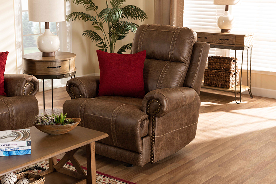 Buckley Light Brown Faux Leather Recliner | Baxton Studio