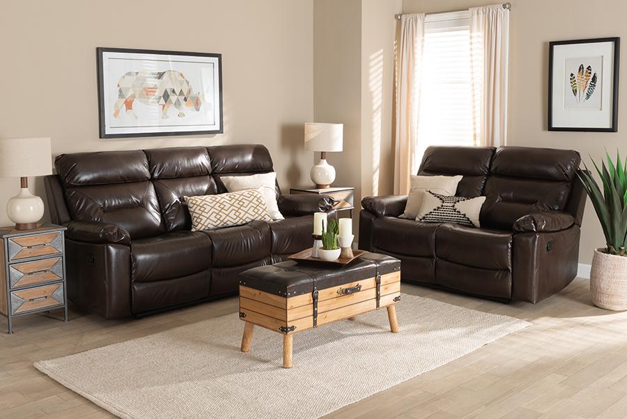 Byron Dark Brown Faux Leather 2-pc Reclining Living Room Set   Baxton Studio
