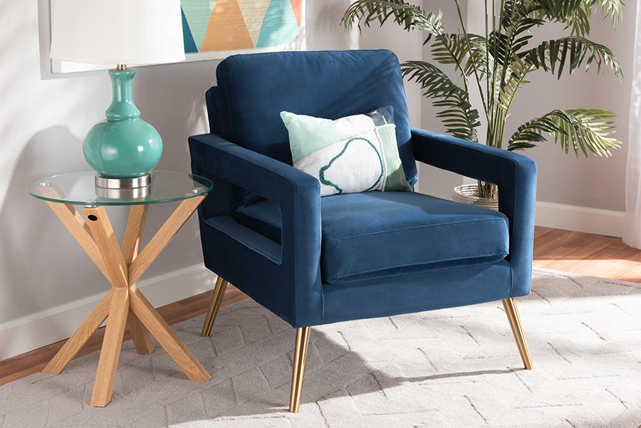 Leland Navy Blue Velvet Fabric Gold Armchair | Baxton Studio