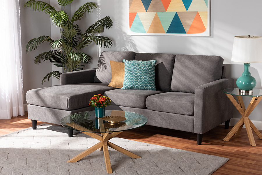 Miles Grey Fabric Sectional Sofa with Left Facing Chaise | Baxton Studio