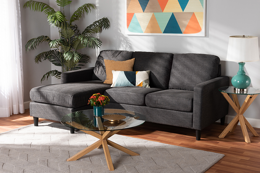 Miles Charcoal Fabric Sectional Sofa with Left Facing Chaise | Baxton Studio