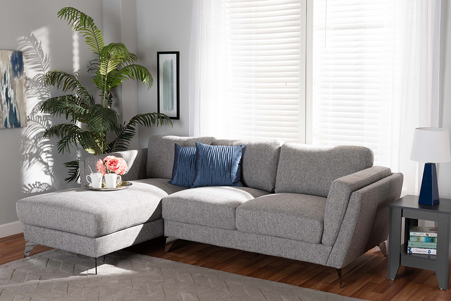 Mirian Grey Fabric Sectional Sofa with Left Facing Chaise | Baxton Studio