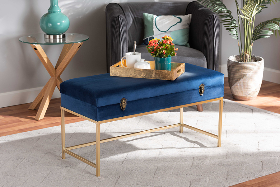 Aliana Navy Blue Velvet Fabric Gold Metal Storage Ottoman | Baxton Studio