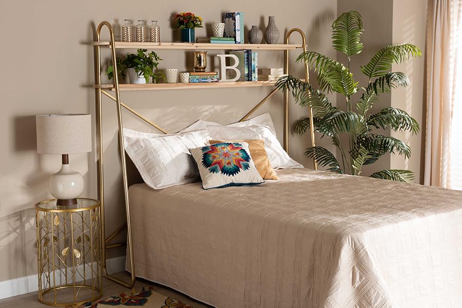 Merida Gold Metal Natural Brown Wood 2 Tier Over Bed Queen Storage Display Shelf   Baxton Studio