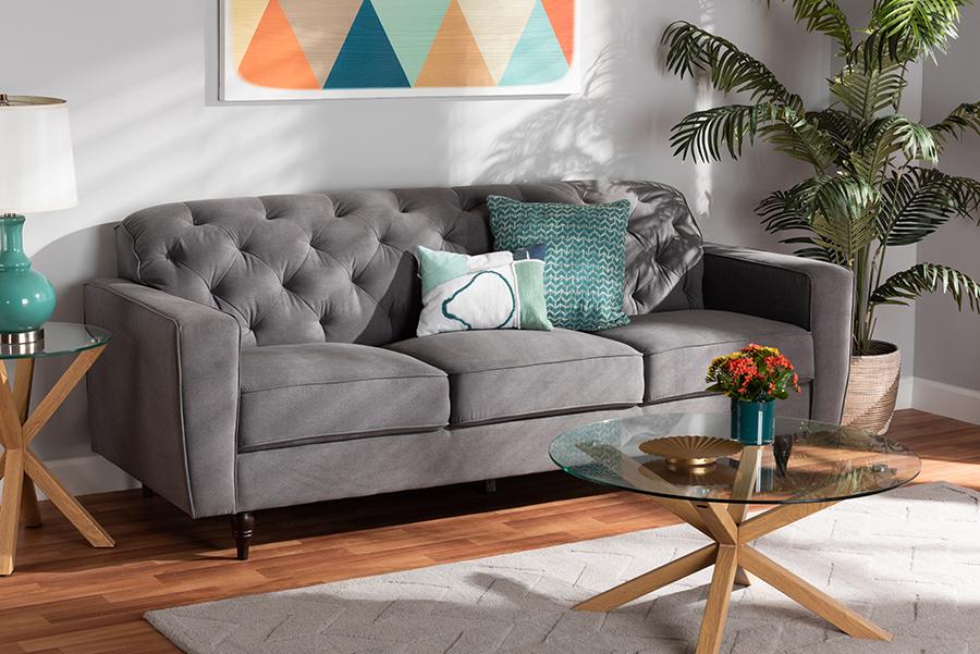 Farley Grey Fabric Dark Brown Wood Sofa | Baxton Studio