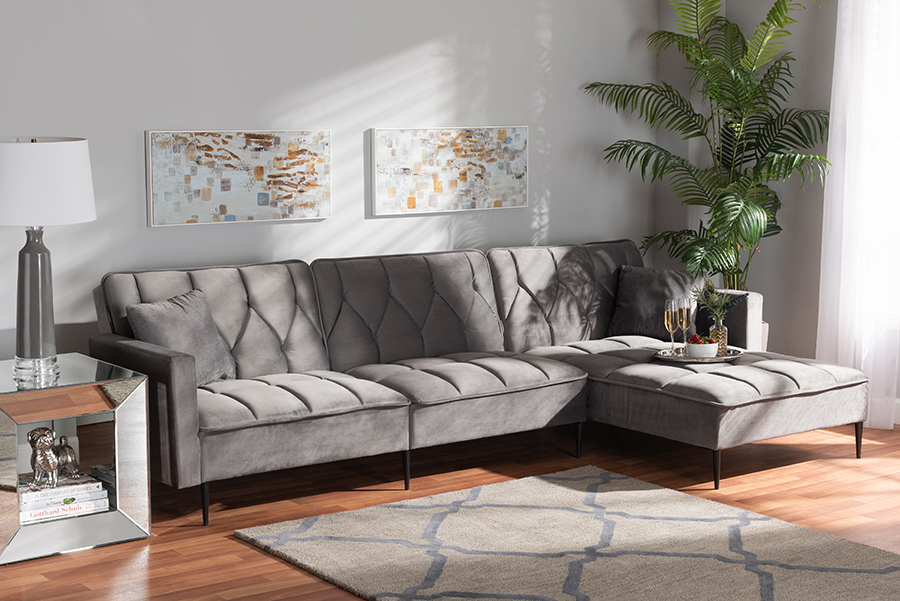 Galena Grey Velvet Fabric Black Metal Sectional Sofa with Right Facing Chaise   Baxton Studio
