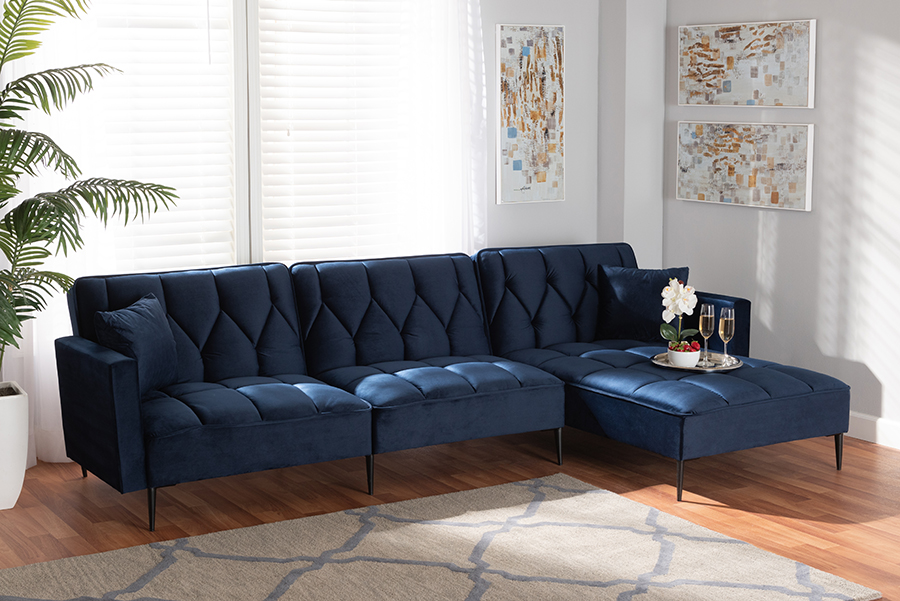 Galena Navy Blue Velvet Fabric Black Metal Sectional Sofa with Right Facing Chaise   Baxton Studio