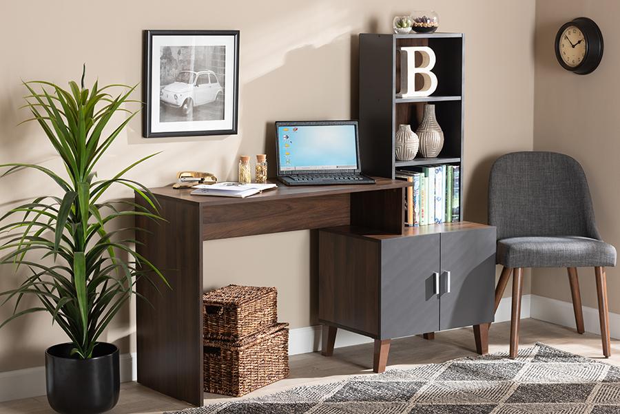Jaeger Walnut Brown Dark Grey Wood Storage Desk with Shelves   Baxton Studio