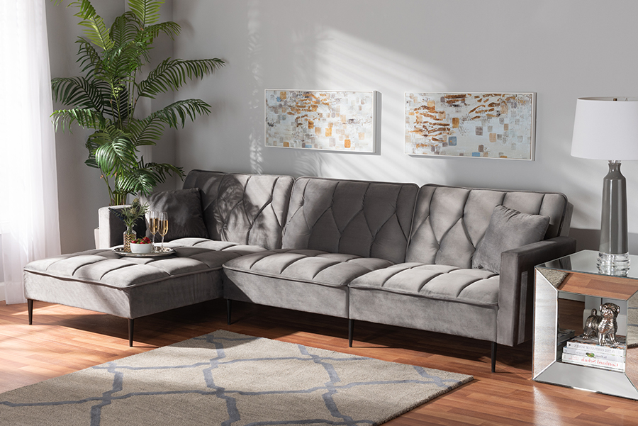 Galena Grey Velvet Fabric Black Metal Sectional Sofa with Left Facing Chaise   Baxton Studio