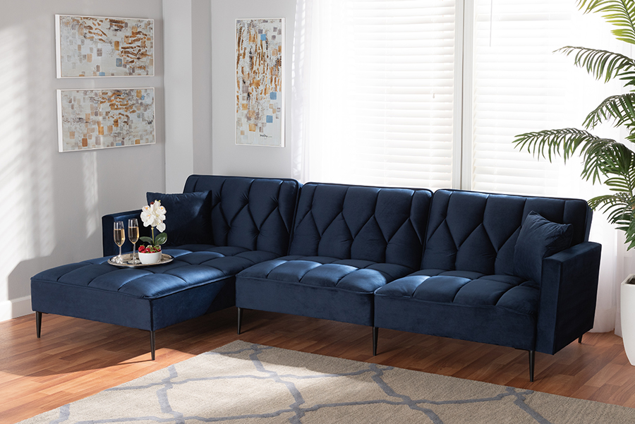 Galena Navy Blue Velvet Fabric Black Metal Sectional Sofa with Left Facing Chaise   Baxton Studio