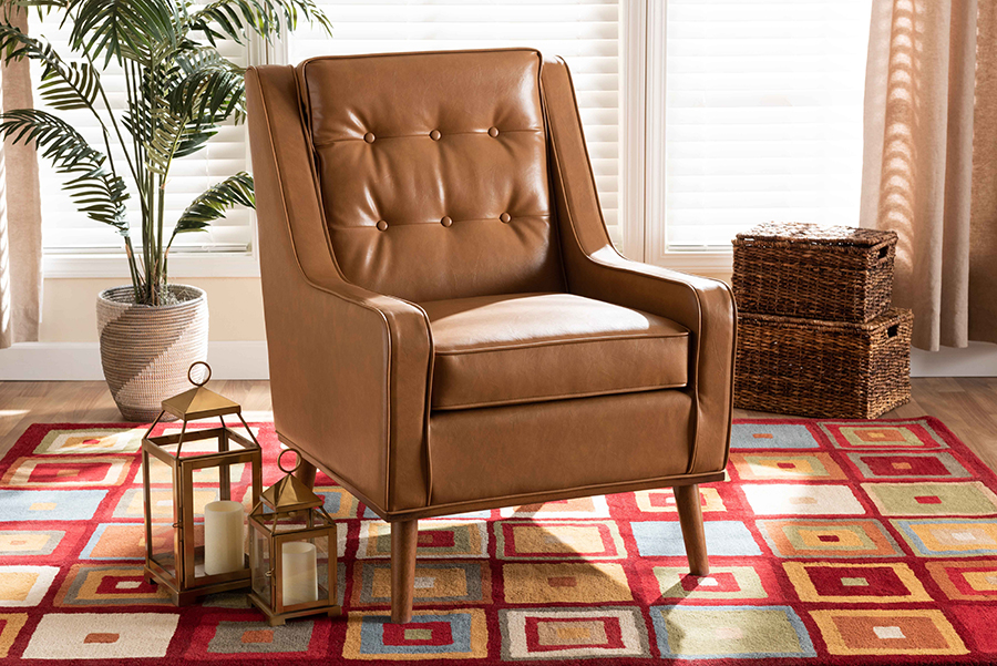 Daley Tan Faux Leather Walnut Wood Lounge Armchair | Baxton Studio