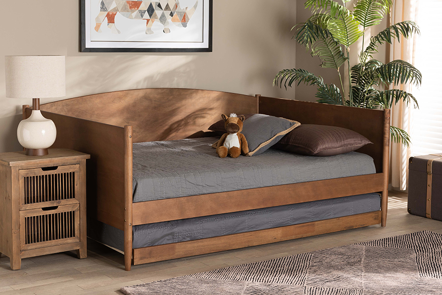 Veles Ash Walnut Wood Full Daybed with Trundle | Baxton Studio