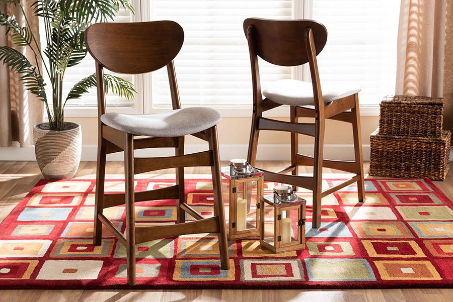 Katya Grey Fabric Walnut Wood 2-pc Counter Stool Set | Baxton Studio