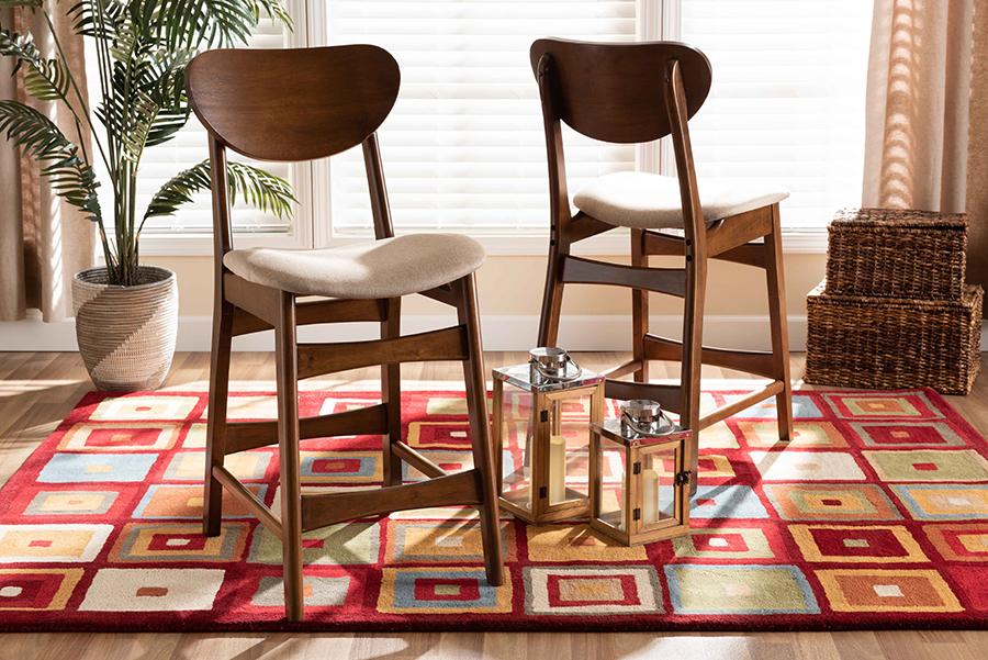 Katya Sand Fabric Walnut Wood 2-pc Counter Stool Set | Baxton Studio