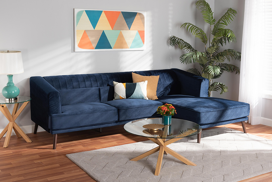 Morton Navy Blue Velvet Fabric Dark Brown Wood Sectional Sofa with Right Facing Chaise | Baxton Studio