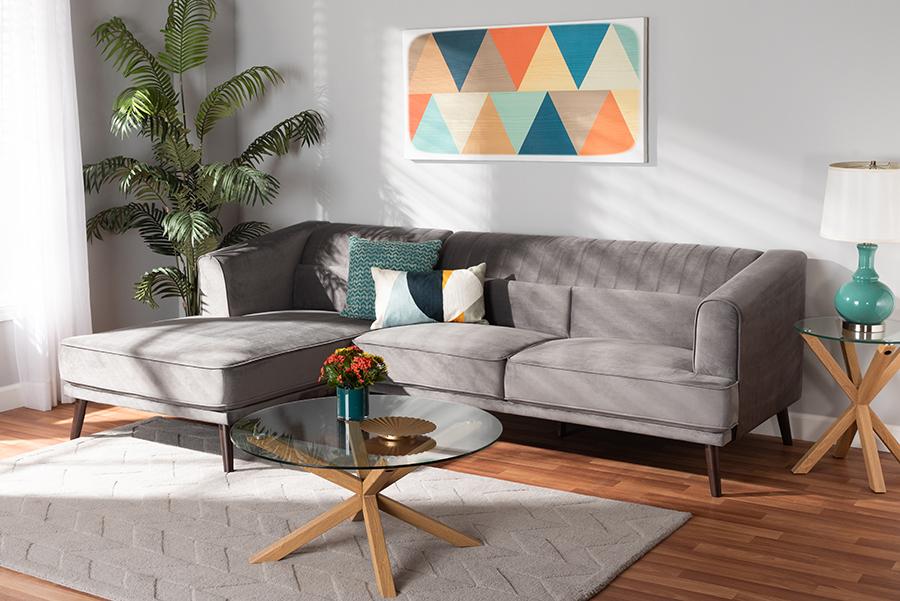 Morton Grey Velvet Fabric Dark Brown Wood Sectional Sofa with Left Facing Chaise | Baxton Studio