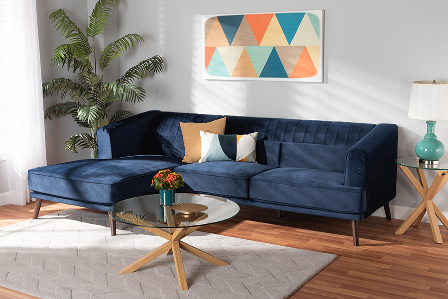 Morton Navy Blue Velvet Fabric Dark Brown Wood Sectional Sofa with Left Facing Chaise   Baxton Studio