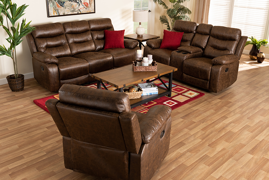 Beasely Brown Faux Leather 3-pc Living Room Set   Baxton Studio