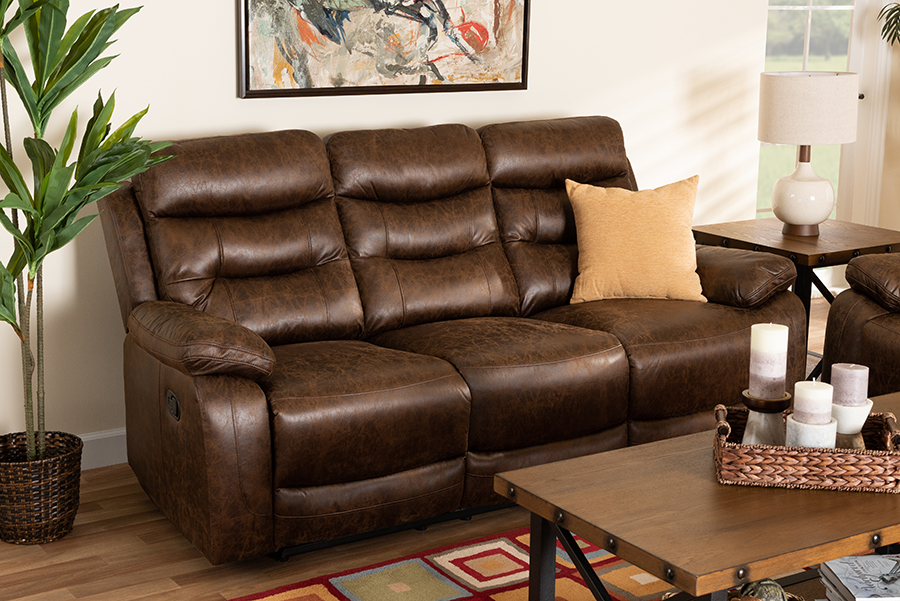 Beasely Brown Faux Leather 3 Seater Reclining Sofa | Baxton Studio