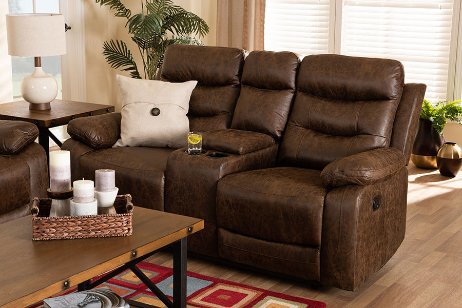 Beasely Brown Faux Leather 2 Seater Reclining Loveseat | Baxton Studio