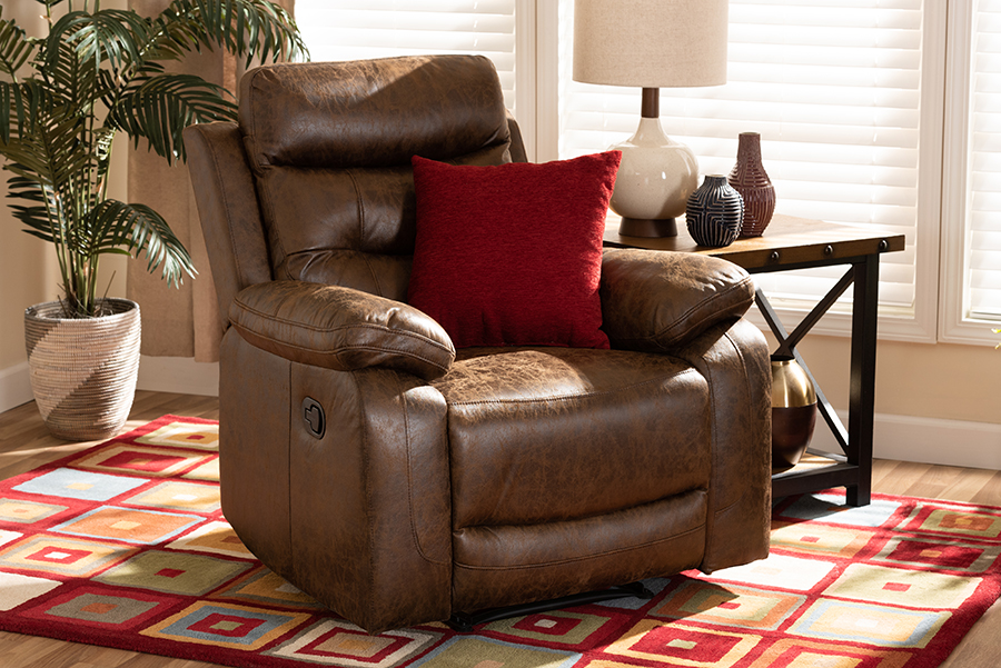 Beasely Brown Faux Leather Recliner | Baxton Studio
