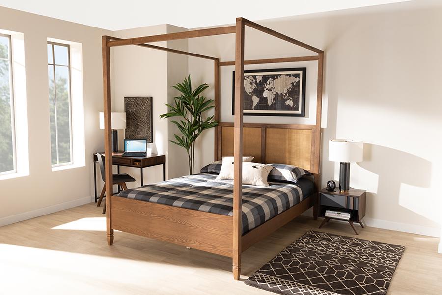 Malia Walnut Wood Synthetic Rattan Queen Canopy Bed | Baxton Studio