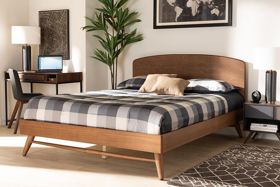 Keagan Walnut Wood King Platform Bed | Baxton Studio