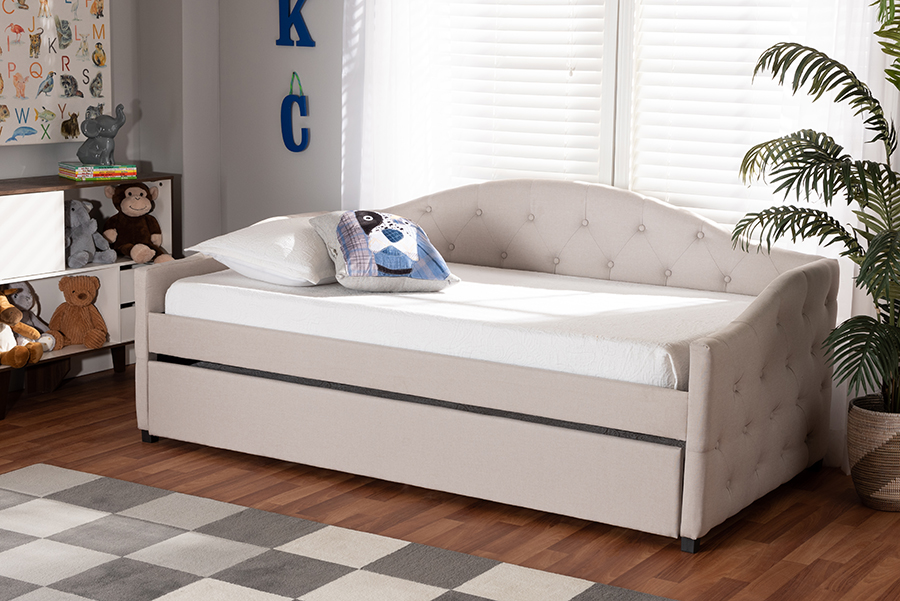 Becker Beige Fabric Twin Daybed with Trundle | Baxton Studio