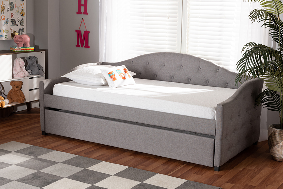 Becker Grey Fabric Twin Daybed with Trundle | Baxton Studio